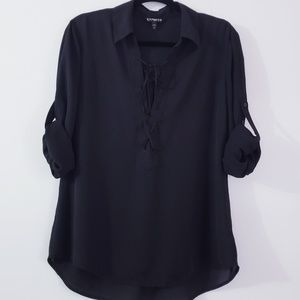 Express Lace Up Front Long sleeve Tunic Top Black